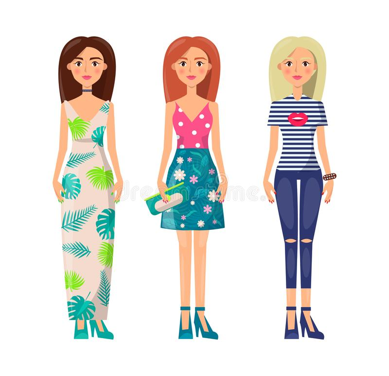Tre signore sveglie in vestiti di Vogue, immagine di vettore illustrazione di stock