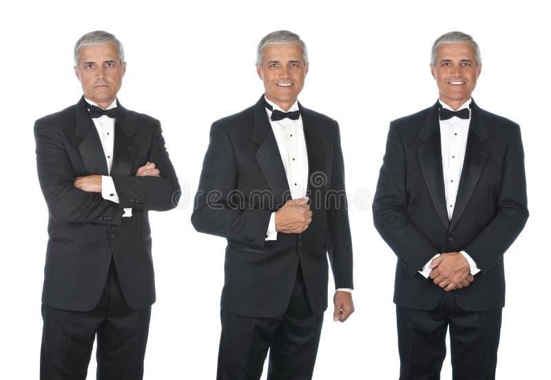Tre sikter av den mogna mannen som bär en smoking royaltyfri bild