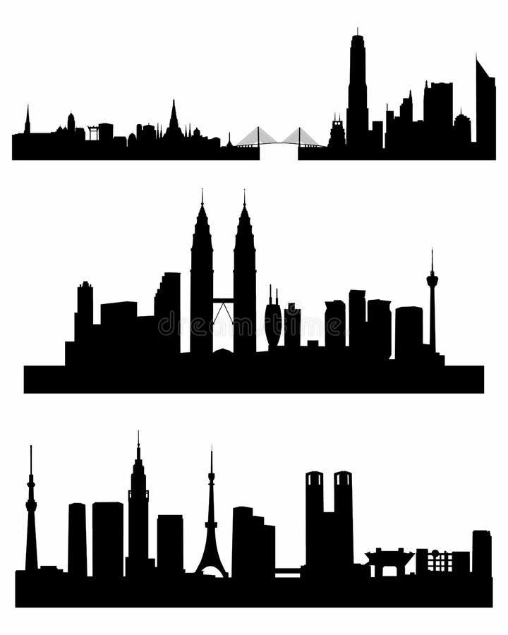 Tre siluette dei capitali royalty illustrazione gratis