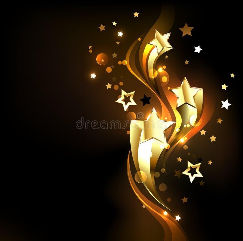 Tre skjuta i höjden guld- stjärnor på svart bakgrund vektor illustrationer
