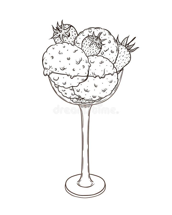 Tre skopor av glass med jordgubben i ett högväxt exponeringsglas Räcka det utdragna klottret royaltyfri illustrationer