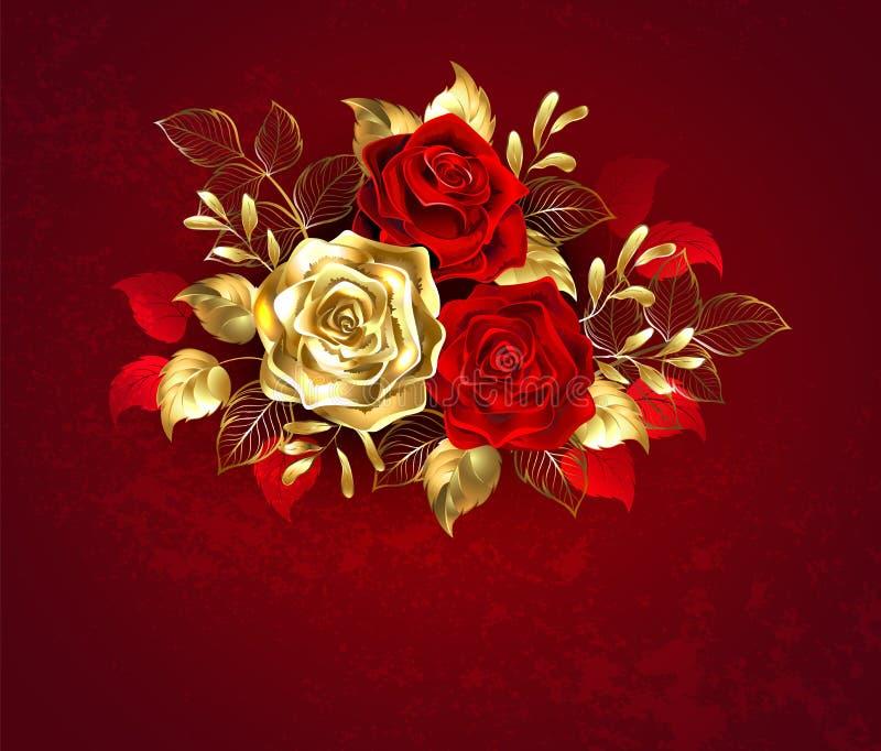 Tre smyckenrosor på röd bakgrund stock illustrationer