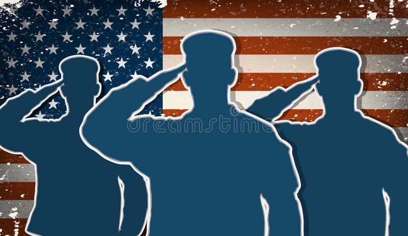 Tre soldati dell'esercito americano che salutano sul backgrou della bandiera americana di lerciume
