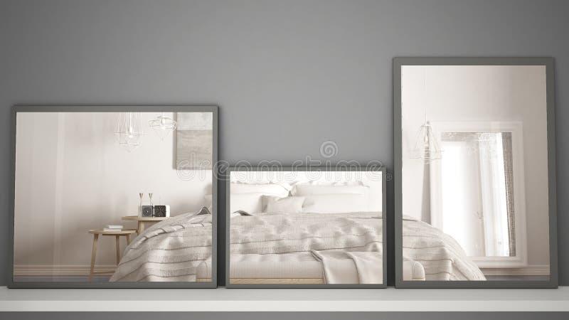 Tre Specchi Moderni Sulla Scena Di Riflessione Di Interior ...