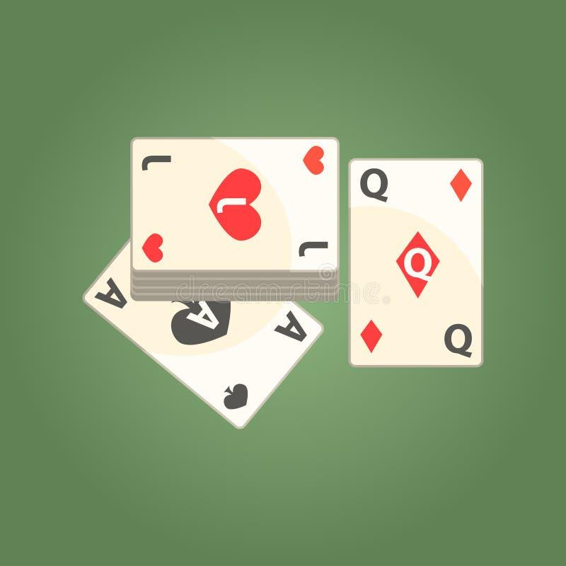 Tre spela kort för pokerlek, dobbleri och illustration för tecknad film för kasinonattklubb släkt stock illustrationer
