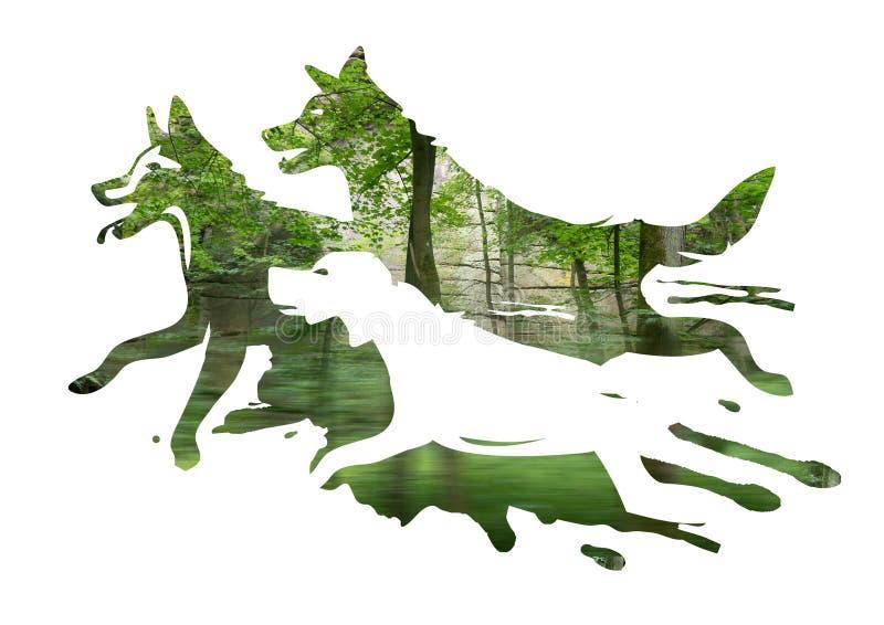 Tre springhundkapplöpning i en skog stock illustrationer