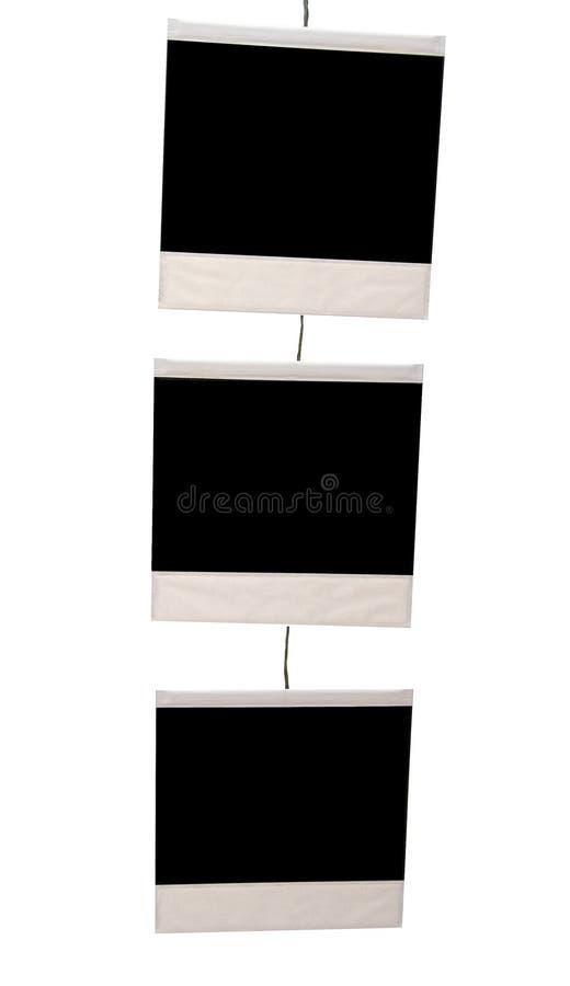 Tre stampe in bianco di istante immagine stock libera da diritti
