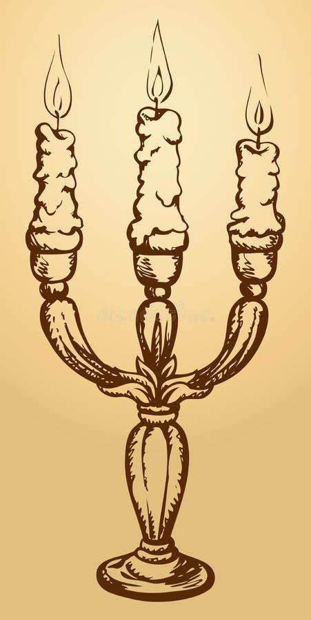 Tre stearinljus i elegant ljusstake Vektorn skissar stock illustrationer
