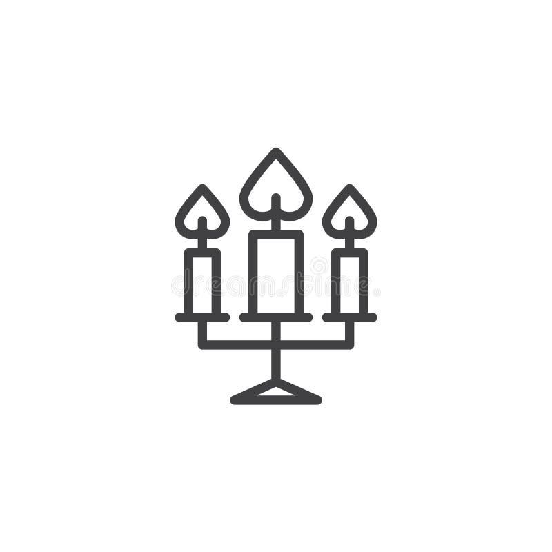 Tre stearinljus som bränner linjen symbol stock illustrationer