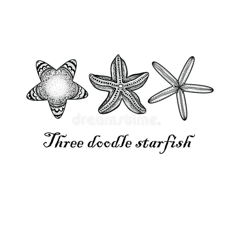Tre stelle marine strutturate di scarabocchio fotografia stock libera da diritti