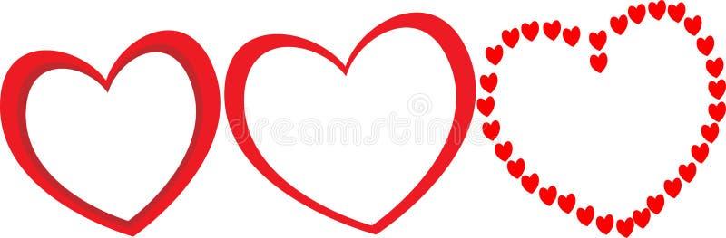 Tre stora röda hjärtor med olika former som ramar för parfoto för valentindag vektor illustrationer
