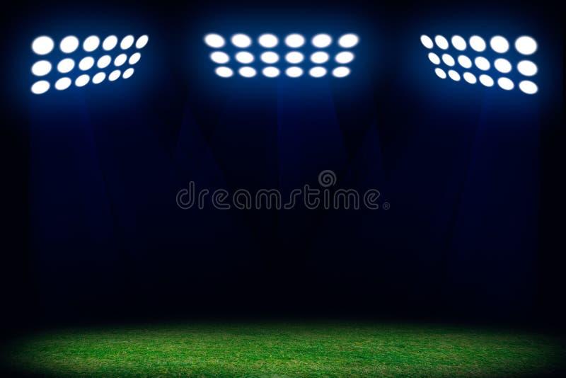 Tre strålkastare på fotbollfält stock illustrationer
