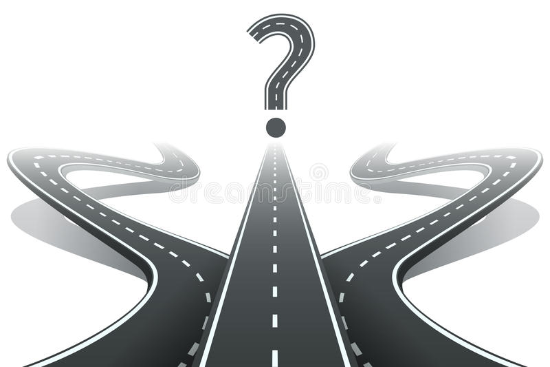 Tre strade e punti interrogativi Scelta della destra royalty illustrazione gratis