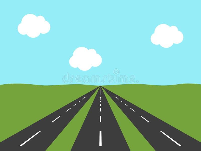 Tre strade, vista di prospettiva illustrazione vettoriale