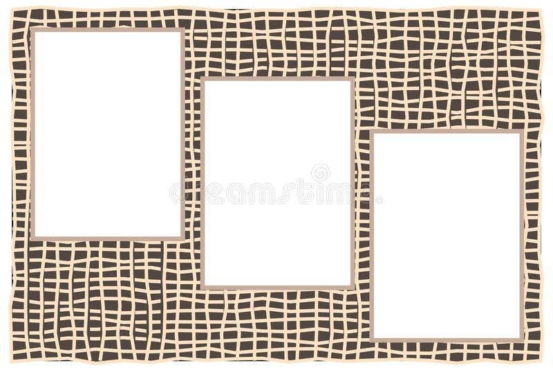 Tre strati del Libro Bianco con spazio per testo su fondo di vimini illustrazione vettoriale