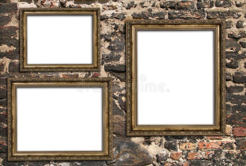 Tre strutture di legno vuote fotografie stock