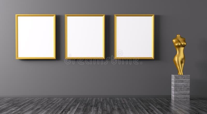 Tre strutture dorate e renderi interno del fondo 3d della statuetta illustrazione di stock