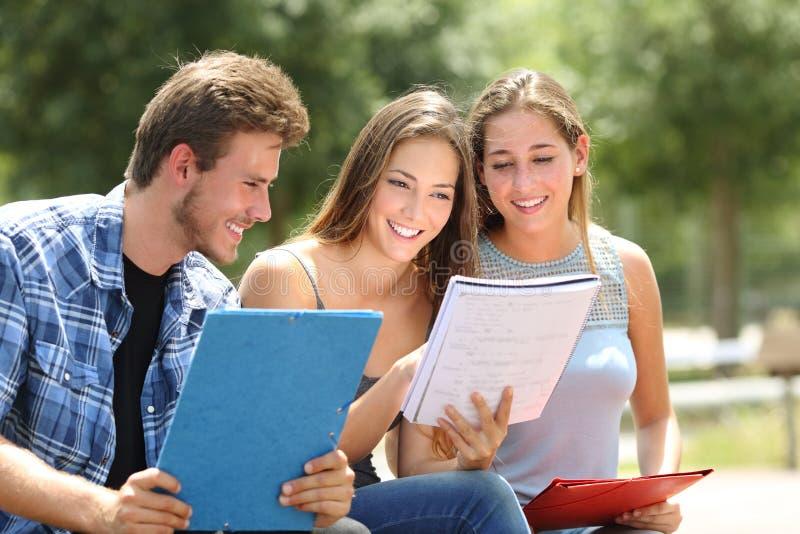 Tre studenter som tillsammans studerar i en universitetsområde, parkerar royaltyfri foto