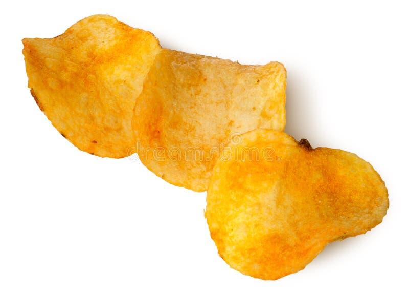 Tre stycken av potatischiper i rad royaltyfria bilder