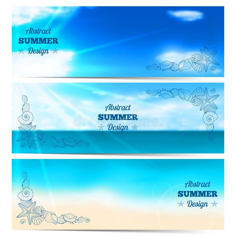 Tre suddiga sommarbaner med snäckskal och sjöstjärnor vektor illustrationer