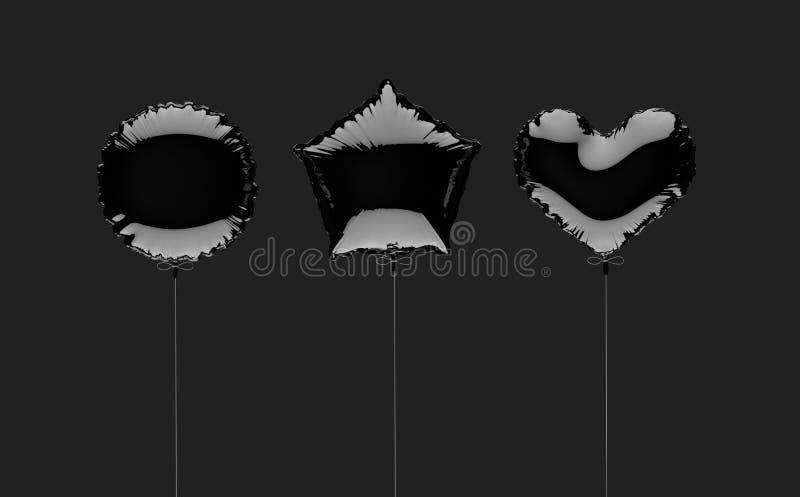 Tre svärtar metallized folieballonger på en mörk grå bakgrund illustrationen 3d framför vektor illustrationer
