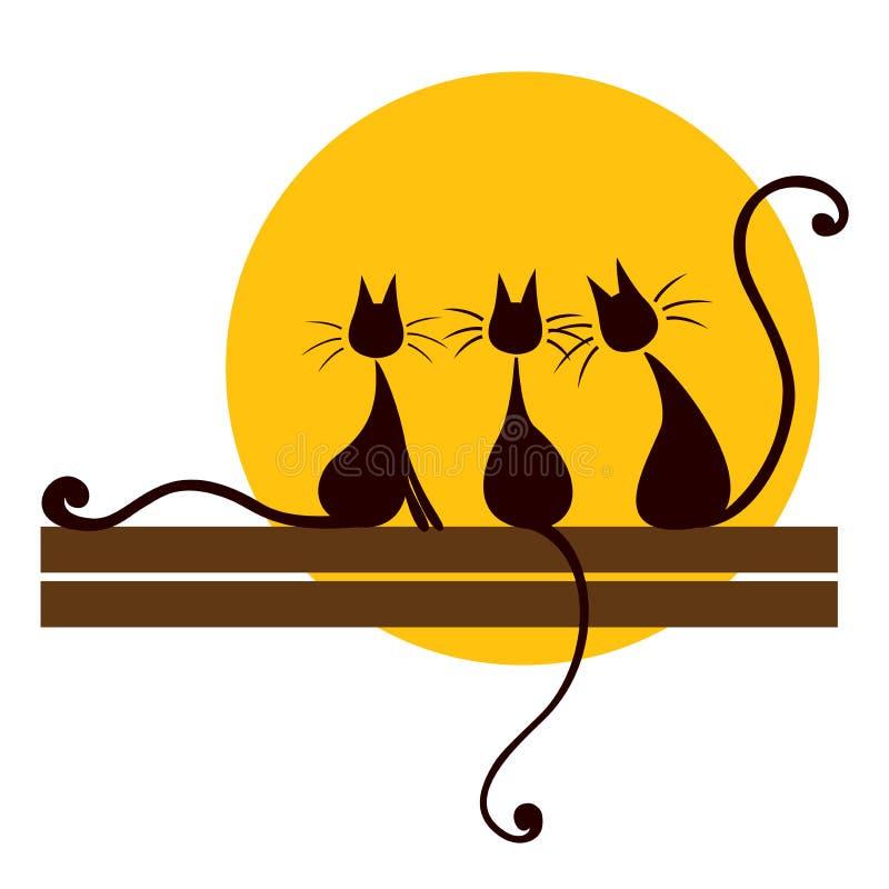 Tre svart katter vektor illustrationer
