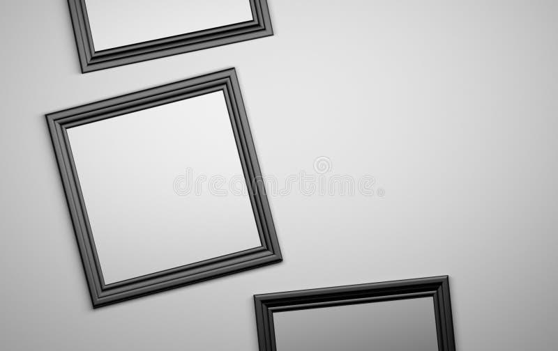 Tre svarta bildramar stock illustrationer