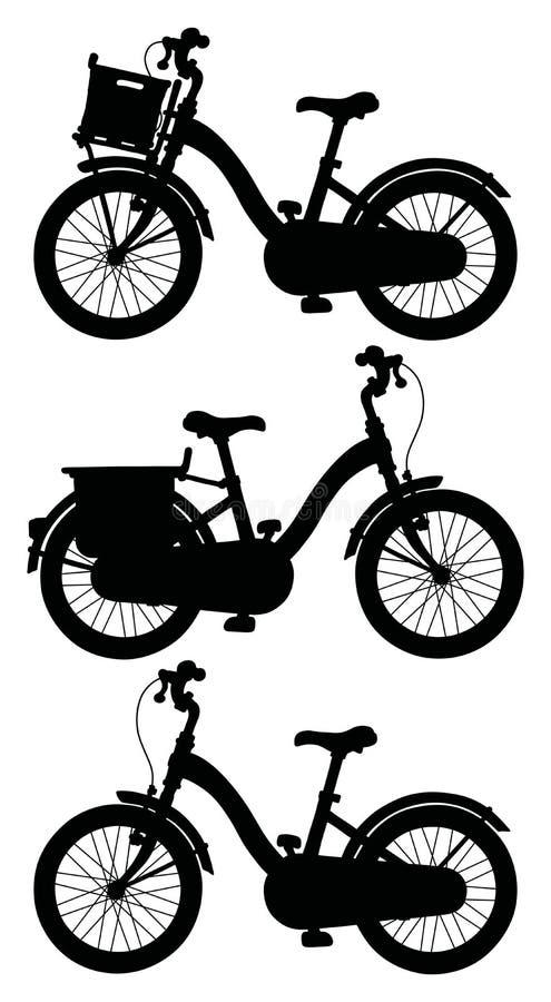 Tre svarta konturer av cyklar stock illustrationer