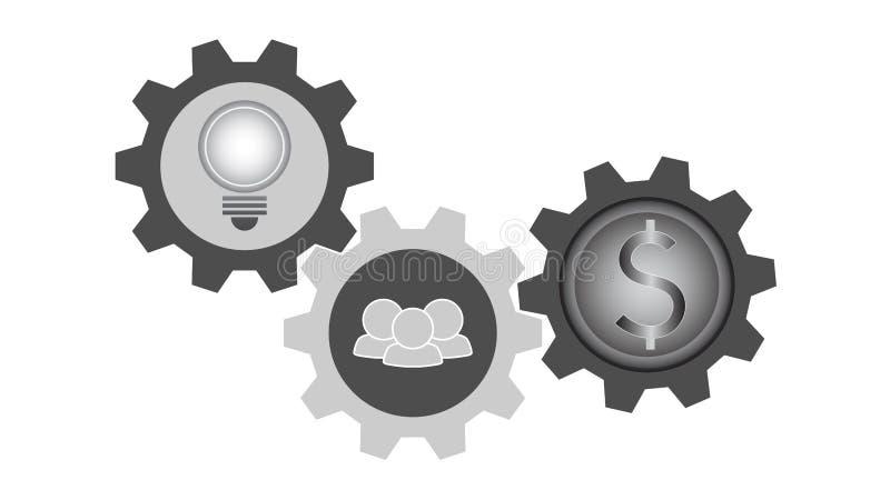 Tre symboler i kugghjul, idé för ljus kula som arbeta i grupp, pengarmynt, färg för grå skala stock illustrationer