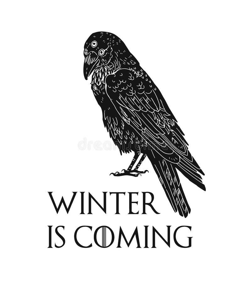 Tre synade korpsvart, och vintern är den kommande inskriften Mystisk svart fågel från drömmar, leken av biskopsstolar roman och T vektor illustrationer