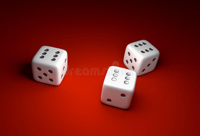 Tre tärning med nummer sex på röd kasinobakgrund stock illustrationer