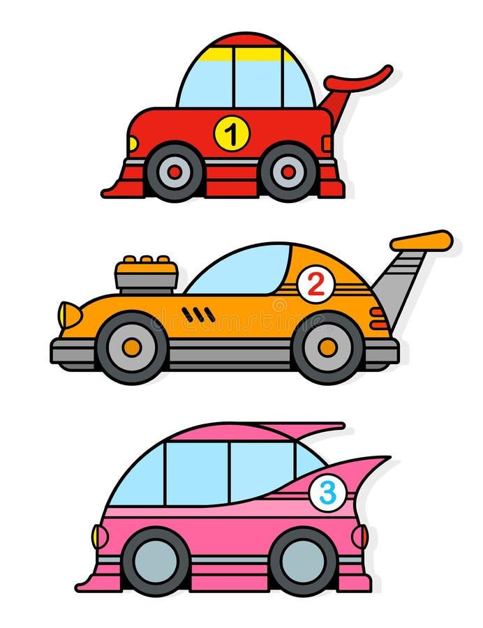 Tre tävlings- leksakbilar för olik färgrik tecknad film vektor illustrationer
