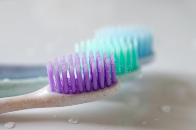 Tre tandborstar av olika färger på vit bakgrund arkivbild