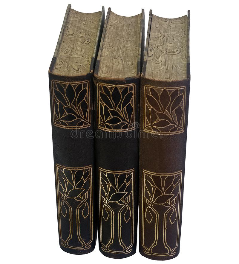 Tre tappningläderböcker med dekorativa ryggar arkivfoton