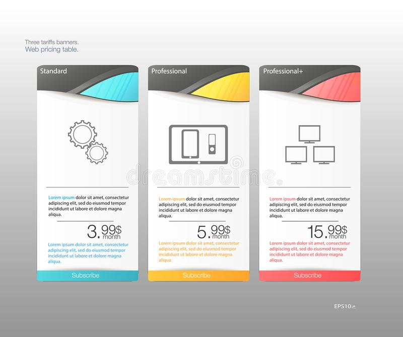 Tre tariffbaner Rengöringsdukprissättningtabell Vektordesign för rengöringsduken app Prislista som korrekt grupperas stock illustrationer
