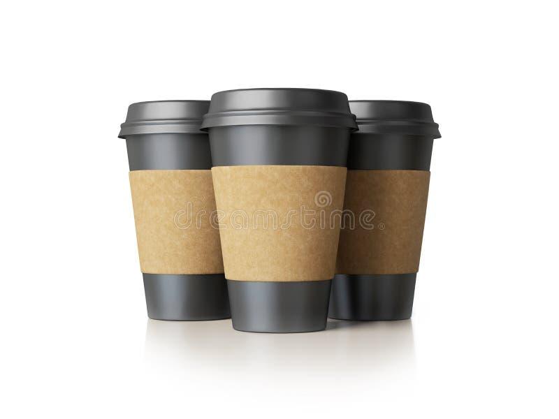 Tre tazze di carta nere immagine stock