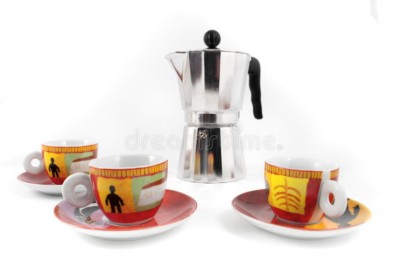 Tre tazze e mocha fotografie stock