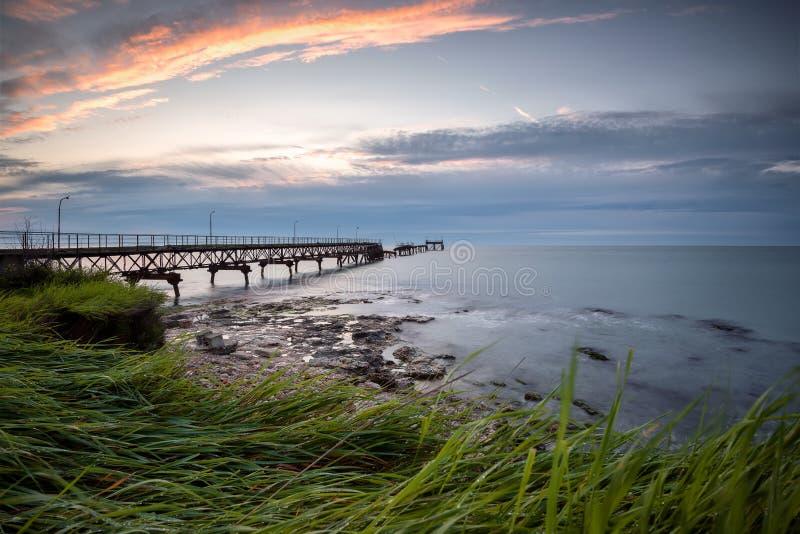 tre te восхода солнца c d Франции Нормандии пляжа alb утесистое стоковая фотография