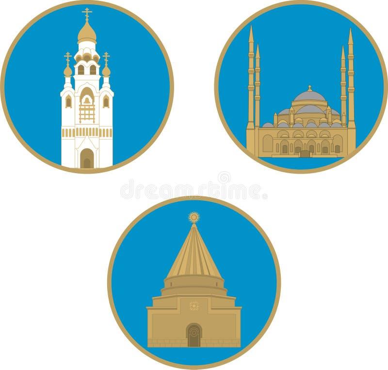 Tre tempie delle religioni differenti royalty illustrazione gratis