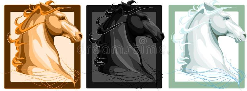 Tre teste del cavallo illustrazione vettoriale