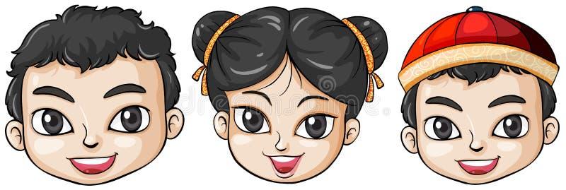 Tre teste della gente asiatica royalty illustrazione gratis