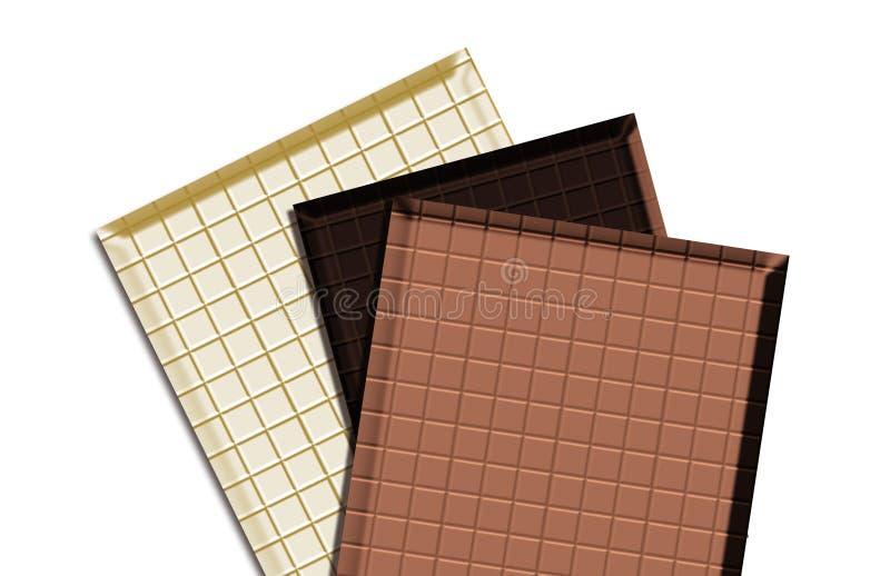Tre tipi cioccolato illustrazione vettoriale