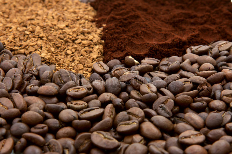 Tre tipi del caffè fotografie stock libere da diritti