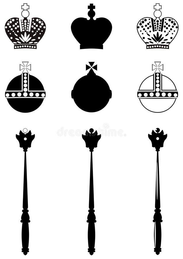 Gli attributi del re. illustrazione di stock