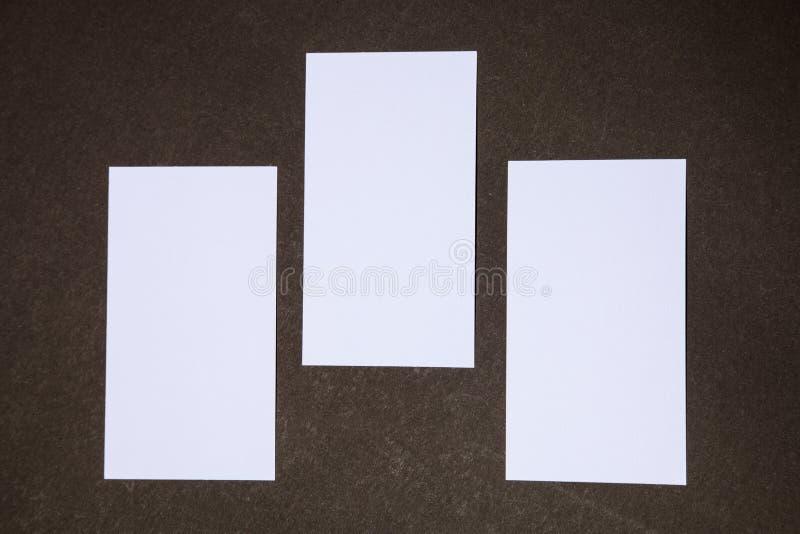 Tre tomma affärskort royaltyfria foton