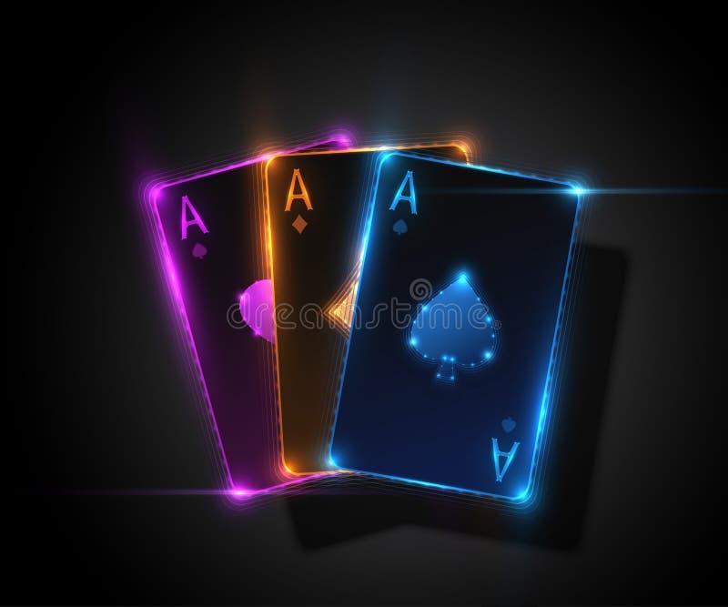 Tre topp- kort, pokerkasinoillustration som stylized swirlvektorn för bakgrund det dekorativa diagrammet vågr vektor illustrationer