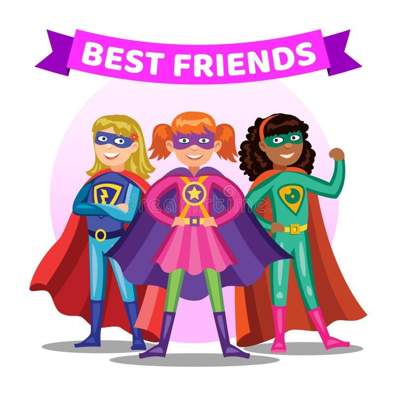 Tre toppna hjältinnor för tecknad film Flickor i superherodräkter royaltyfri illustrationer