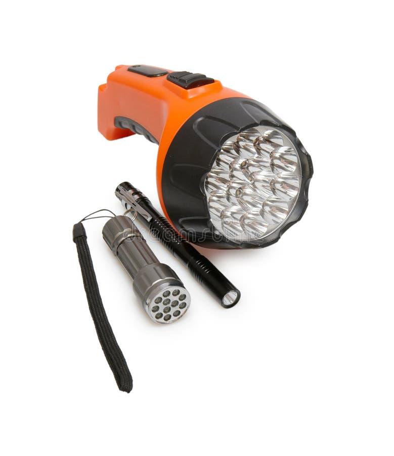 Tre torce elettriche rotonde della lanterna fotografia stock libera da diritti