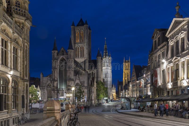 Tre torn - Ghent - Belgien arkivfoton