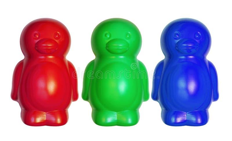 Tre Toy Penguins arkivfoton